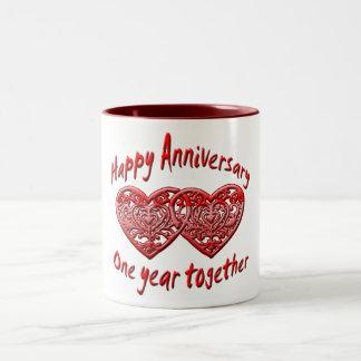 1st. anniversary Two-Tone coffee mug