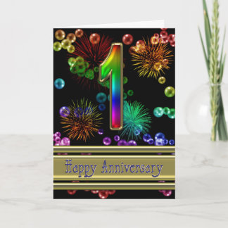 1st anniversary with fireworks and bubbles card