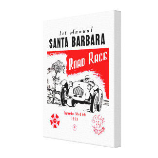 1st Annual Santa Barbara Road Race Vintage Poster Canvas Print