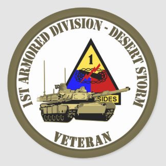1st Armored Division [1st AD] Classic Round Sticker