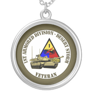 1st Armored Division [1st AD] Silver Plated Necklace