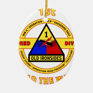 "1ST ARMORED DIVISION ""OLD IRONSIDES"" CERAMIC ORNAMENT"