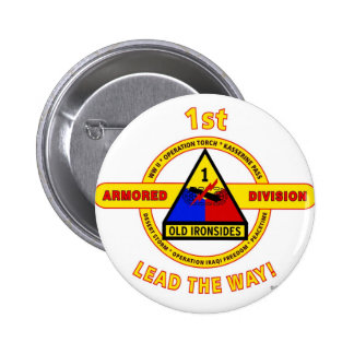"""1ST ARMORED DIVISION """"OLD IRONSIDES"""" PINBACK BUTTON"""