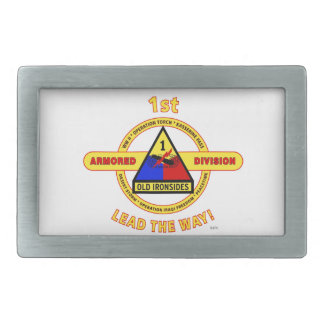 "1ST ARMORED DIVISION ""OLD IRONSIDES"" RECTANGULAR BELT BUCKLES"