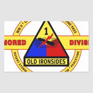"""1ST ARMORED DIVISION """"OLD IRONSIDES"""" RECTANGULAR STICKER"""