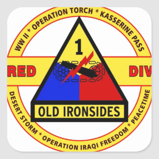"""1ST ARMORED DIVISION """"OLD IRONSIDES"""" SQUARE STICKER"""