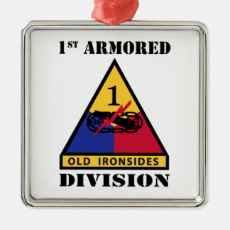 1st Armored Division W/Text Metal Ornament
