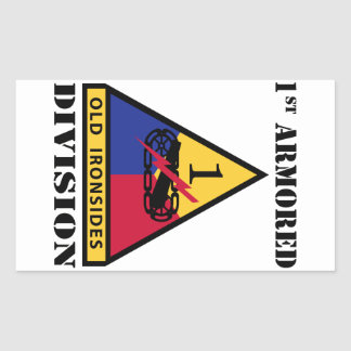 1st Armored Division W/Text Rectangular Sticker