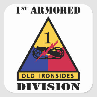 1st Armored Division W/Text Square Sticker