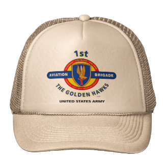 "1st Aviation Brigade ""Golden Hawks"" Vietnam Cap Mesh Hats"