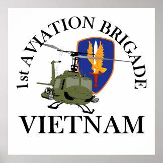 1st Avn Bde Vietnam Vet Huey Posters