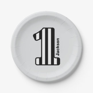 1st BABY Birthday Black Striped Big Number A20Z Paper Plate
