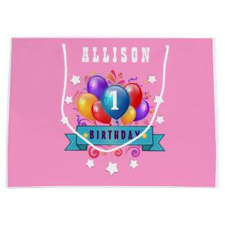 1st BABY Birthday Festive Colorful Balloons V10IZ2 Large Gift Bag