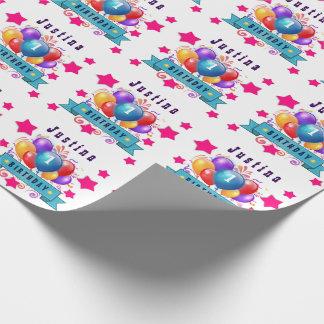 1st BABY Birthday Festive Colorful Balloons V10IZ5 Wrapping Paper