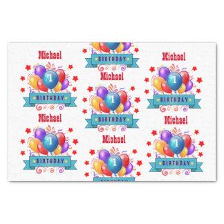 """1st BABY Birthday Festive Colorful Balloons V10IZ 10"""" X 15"""" Tissue Paper"""