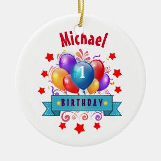 1st BABY Birthday Festive Colorful Balloons V10IZ Ceramic Ornament