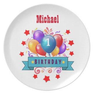 1st BABY Birthday Festive Colorful Balloons V10IZ Melamine Plate