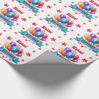 1st BABY Birthday Festive Colorful Balloons V10IZ Wrapping Paper