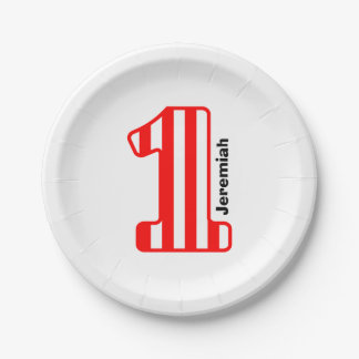1st BABY Birthday Red Striped Big Number A21 Paper Plate