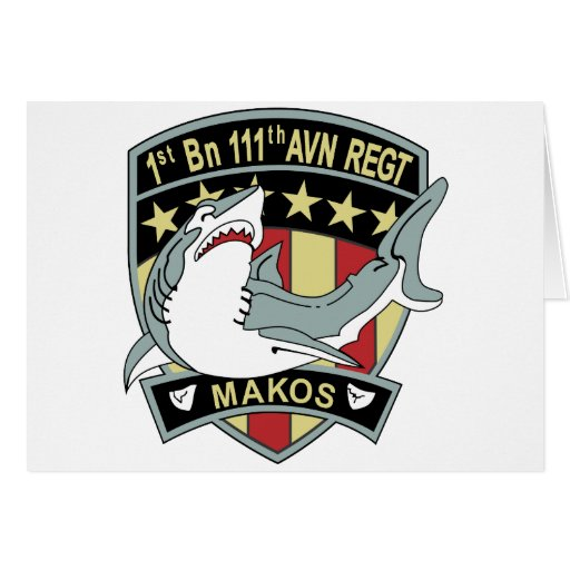 1st Battalion 111th Aviation Regiment Makos Patch Greeting Card