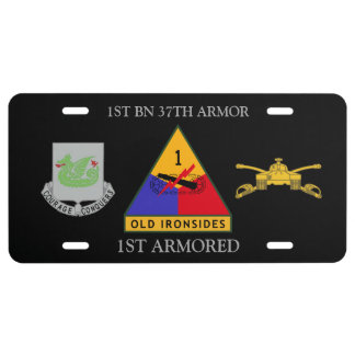 1ST BATTALION 37TH ARMOR 1ST ARMORED LICENSE PLATE
