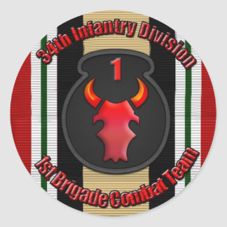 1st BCT 34th ID Classic Round Sticker