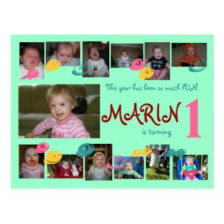 1st birthday 12 months photo postcard