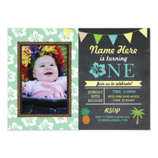 1st Birthday 1 Aloha Tropical Photo Party Invite