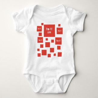 1st Birthday 1 Year Old RED Squares V20 Baby Bodysuit