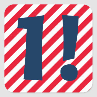 1st Birthday 1 Year Old Red White Stripes A03A Square Sticker