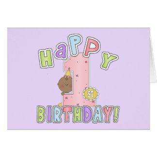 1st Birthday African American Girl Card