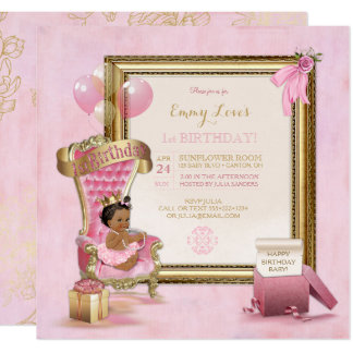 1st Birthday African American Princess Throne Card
