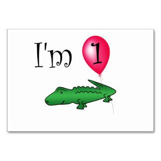 1st Birthday alligator red balloon Card