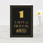 "[ Thumbnail: 1st Birthday ~ Art Deco Inspired Look ""1"" & Name Card ]"