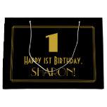 "[ Thumbnail: 1st Birthday — Art Deco Inspired Look ""1"" & Name Gift Bag ]"