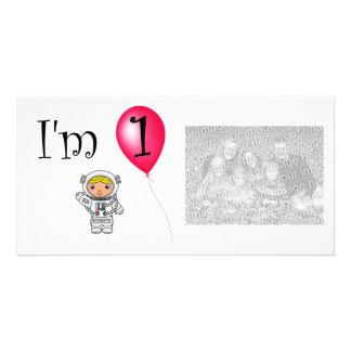 1st Birthday astronaut red balloon Custom Photo Card