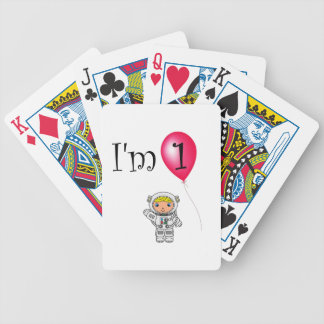 1st Birthday astronaut red balloon Bicycle Playing Cards