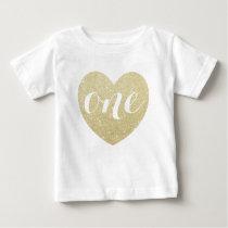 1st Birthday Baby Girl Glitter heart-Print Baby T-Shirt