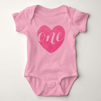 1st Birthday Baby Girl Glitter heart-Print Pink Baby Bodysuit