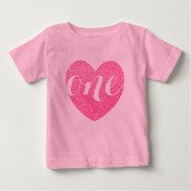 1st Birthday Baby Girl Glitter heart-Print Pink Baby T-Shirt