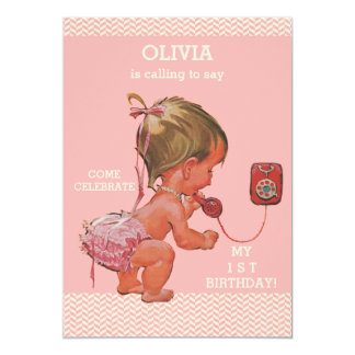 1st Birthday Baby Girl on Phone Pink Chevrons Card