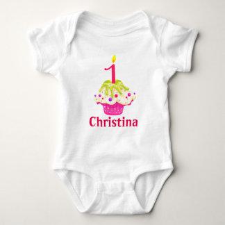 1st Birthday Baby Girl Pink Cake Personalize Baby Bodysuit
