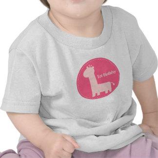 1st Birthday - Baby Girl Pink Giraffe Silhouette T Shirts