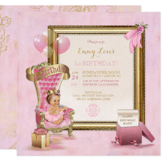 1st Birthday Baby Girl Princess Throne Gold Pink Card