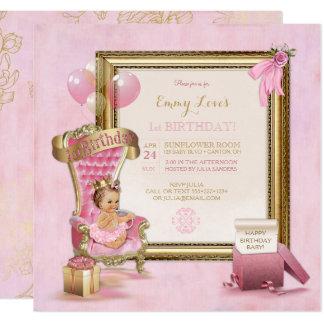1st Birthday Baby Girl Princess Throne Gold Pink Card