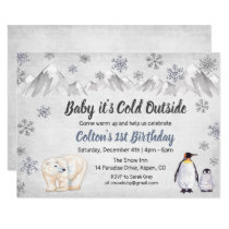 1st Birthday Baby It's Cold Outside Invitation