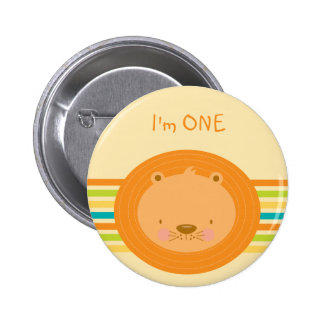 1st Birthday Baby Lion Button