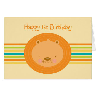1st Birthday Baby Lion Card