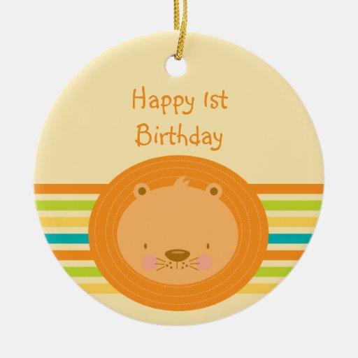 1st Birthday Baby Lion Round Ornament
