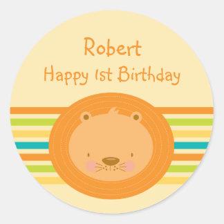 1st Birthday Baby Lion Round Stickers